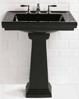 Casa Padrino Luxus Jugendstil Waschbecken Schwarz 64 x 48, 5 x H. 90 cm - Keramik Waschbecken mit Sockel - Luxus Qualität