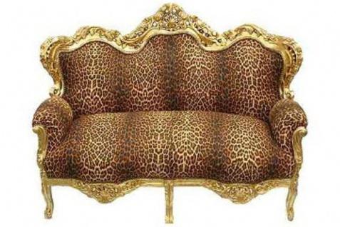 Casa Padrino Barock Sofa Garnitur Master Leopard / Gold - Barock Möbel