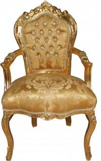 Casa Padrino Barock Esszimmerstuhl mit Armlehnen Gold Barock Muster / Gold mit Bling Bling Glitzersteinen - Antik Look