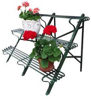 Casa Padrino Blumenständer aus Schmiedeeisen mit 3 Etagen - verschiedene Farben - 120 cm x 45 cm x H70 cm - Luxus Gartenmöbel