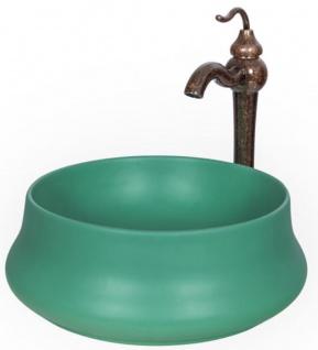 Casa Padrino Jugendstil Waschtisch Set Ø 40 x H. 37, 2 cm - Retro Einhebel Wasserhahn mit antiker Marmoroberfläche und elegantem runden Waschbecken - Rustikales Bad Zubehör