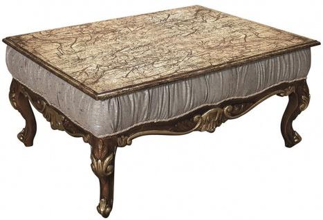 Casa Padrino Luxus Barock Couchtisch Silbergrau / Braun / Gold 105 x 80 x H. 50 cm - Rechteckiger Massivholz Tisch - Antik Stil Wohnzimmertisch