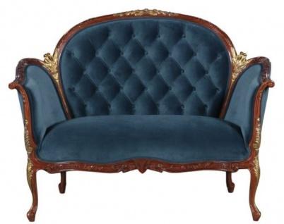 Casa Padrino Barock Samt Sofa Blau / Braun / Messingfarben 125 x 73, 5 x H. 92, 5 cm - Möbel im Barockstil