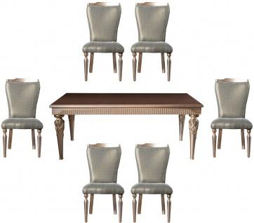 Casa Padrino Luxus Barock Esszimmer Set Grün / Silber / Kupfer / Gold - 1 Esstisch & 6 Esszimmerstühle - Barock Esszimmer Möbel - Edel & Prunkvoll