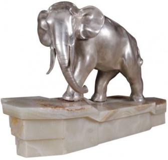 Casa Padrino Luxus Bronzefigur Elefant auf Marmorsockel Silber / Weiß 44 x 19 x H. 30 cm - Luxus Qualität - Vorschau 2