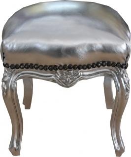 Casa Padrino Barock Sitzhocker Silber / Silber Höhe 40 cm, Breite 35 cm - Barock Möbel - Vorschau 2