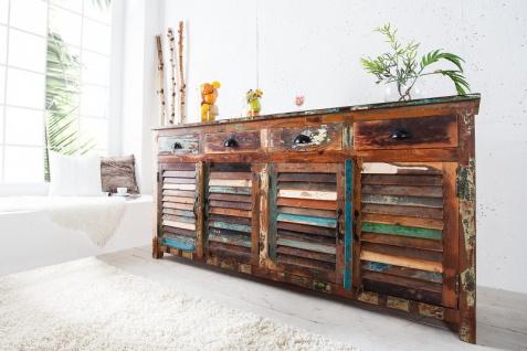 Casa Padrino Designer Sideboard Mehrfarbig B.180 x H.100 x T.45 - Fernsehschrank - Kommode - Handgefertigt - Massivholz - Vorschau 3