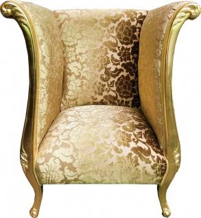 Extravaganter Pompöös by Casa Padrino Luxus Designer Sessel von Harald Glööckler Gold Bouquet Muster / Gold - Pompööser Barock Sessel