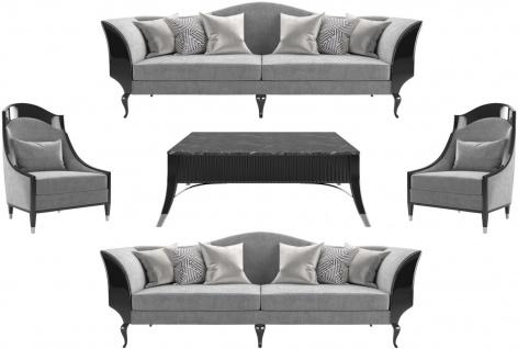 Casa Padrino Luxus Art Deco Wohnzimmer Set Grau / Schwarz / Silber - 2 Sofas & 2 Sessel & 1 Couchtisch mit Marmorplatte - Edle Art Deco Wohnzimmer Möbel