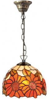 Casa Padrino Luxus Tiffany Hängeleuchte Sonnenblumen Orange / Mehrfarbig Ø 20 x H. 78 cm - Handgefertigte Pendelleuchte aus 135 Teilen