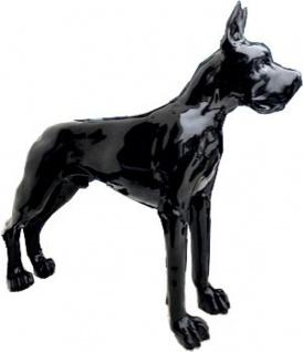 Casa Padrino Designer Dekofigur Hund Deutsche Dogge Schwarz 125 x H. 110 cm - Lebensgroße Deko Skulptur - Wetterbeständige Tierfigur