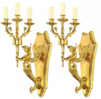 Casa Padrino Barock Wandleuchten Set Gold - Wandlampe Wand Beleuchtung (2 Leuchten)