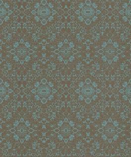 Casa Padrino Barock Tapete Grau / Petrol 10, 05 x 0, 53 m - Textiltapete im Barockstil