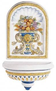 Casa Padrino Luxus Jugendstil Wandbrunnen Weiß / Mehrfarbig 107 x 50 x H. 132 cm - Handgefertigter & handbemalter Keramik Brunnen - Barock & Jugendstil Garten Deko Accessoires