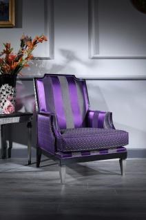 Casa Padrino Luxus Barock Wohnzimmer Sessel Lila / Schwarz / Silber 72 x 76 x H. 103 cm - Barockmöbel