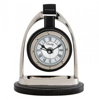 Casa Padrino Designer Luxus Vintage Tischuhr Horsebit Nickel / Leder Schwarz 17 x 12, 5 x H. 21 cm - Edel & Prunkvoll