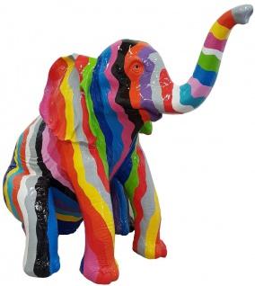 Casa Padrino Designer Deko Skulptur sitzender Elefant Mehrfarbig H. 140 cm - Deko Tierfigur - Riesige Gartendekofigur