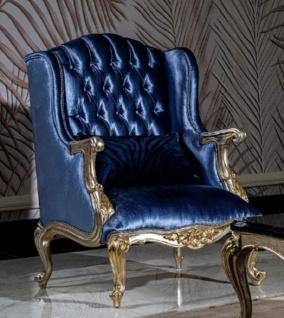Casa Padrino Luxus Barock Ohrensessel Blau / Silber / Gold - Handgefertigter Wohnzimmer Sessel mit dekorativem Kissen - Barock Wohnzimmer Möbel