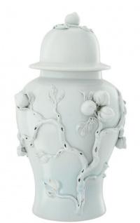 Casa Padrino Luxus Porzellan Vase / Krug mit Deckel Hellmintfarben Ø 30 x H. 47 cm - Hotel & Restaurant Deko Accessoires
