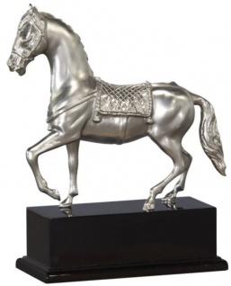 Casa Padrino Luxus Bronzefigur Pferd mit Holzsockel Silber / Antik Schwarz 31, 5 x 12, 5 x H. 37, 3 cm - Versilberte Deko Figur