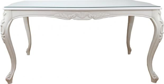 Casa Padrino Barock Luxus Esstisch Weiss 200 x 100 x H. 78 cm - Esszimmertisch mit Glasplatte - Hotel & Restaurant Möbel - Made in Italy
