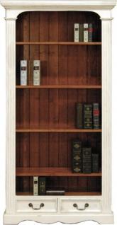 Casa Padrino Vintage Bücherschrank Antik Stil Weiss / Holzfarben 190 x 98 cm - Bücherregal Regal Schrank
