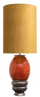 Casa Padrino Luxus Keramik Stehleuchte Orange / Gold Ø 50 x H. 135 cm - Handgefertigte Stehlampe mit goldenem Lampenschirm
