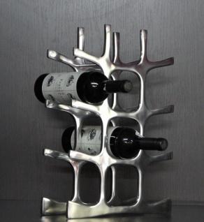 Casa Padrino Designer Weinregal aus poliertem Aluminium für 12 Flaschen H 44, 5 cm, B 33 cm, T 11 cm - Flaschenhalter - Flaschenablage - Vorschau 2