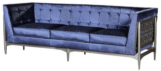 Casa Padrino Luxus Art Deco 3er Sofa Blau / Grau 250 x 76 x H. 83 cm - Edles Samt Sofa mit Mahagoni Rahmen - Art Deco Wohnzimmer Möbel