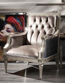 Casa Padrino Luxus Barock Samt Sessel Rosa / Schwarz / Antik Silber 73 x 73 x H. 110 cm - Barock Wohnzimmer Möbel