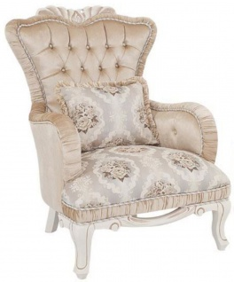 Casa Padrino Luxus Barock Sessel Beige / Weiß 76 x 83 x H. 109 cm -  Wohnzimmer Sessel mit Blumenmuster und dekorativem Kissen - Barock Möbel