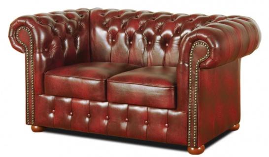 Casa Padrino Chesterfield Wohnzimmer 3er Set Weinrot - Luxus Echtleder Möbel - Vorschau 3