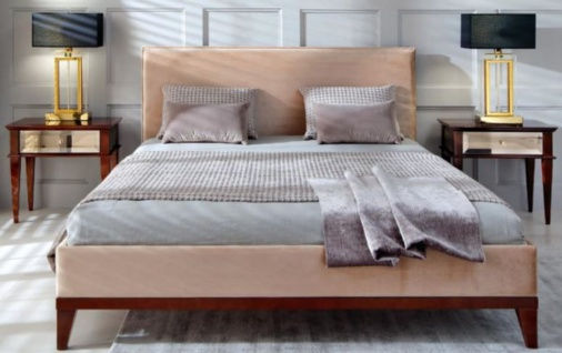 Casa Padrino Luxus Art Deco Doppelbett Beige / Braun 168 x 215 x H. 101 cm - Massivholz Bett - Art Deco Schlafzimmer Möbel