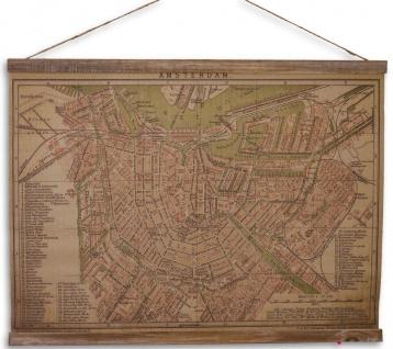 Casa Padrino Wandkarte Amsterdam Braun / Mehrfarbig 70 x H. 53 cm - Antik Stil Karte