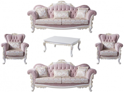 Casa Padrino Luxus Barock Wohnzimmer Set Rosa / Silber / Weiß / Gold - 2 Sofas & 2 Sessel & 1 Couchtisch - Edle Wohnzimmer Möbel im Barockstil