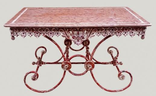 Casa Padrino Jugendstil Gartentisch Antik Rot Weiss 130 X 80 X H