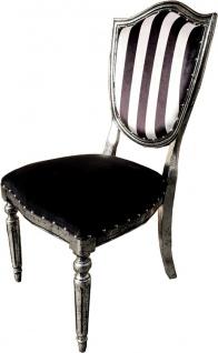 Casa Padrino Art Deco Luxus Esszimmer Stuhl Schwarz Weiß Streifen / Antik Stil Silber - Luxus Hotel Möbel