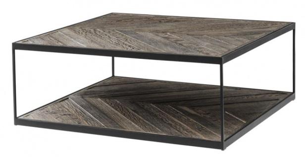 Casa Padrino Designer Couchtisch aus verzinktem Stahl und verwittertem Eichenholz - Luxus Kollektion