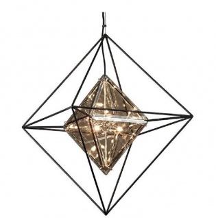 Casa Padrino Luxus LED Hängeleuchte Schwarz 61 x 61 x H. 85, 7 cm - Designer Lampe mit handgefertigtem Schmiedeeisen Rahmen