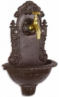 Casa Padrino Jugendstil Wandbrunnen Braun 24 x H. 39 cm - Nostalgischer Gartendeko Brunnen mit Wasserhahn - Garten Accessoires