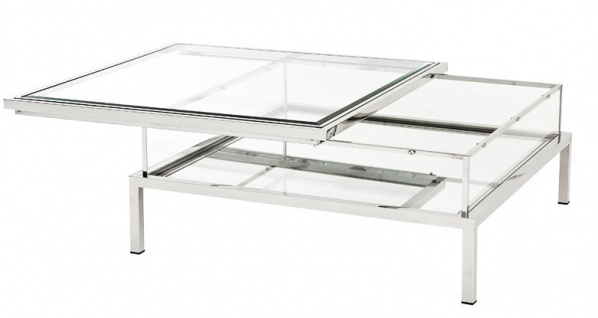 Casa Padrino Luxus Art Deco Designer Couchtisch Edelstahl poliert mit Spiegelglas - Luxus Kollektion
