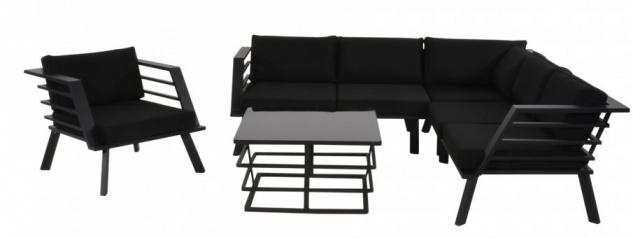 Casa Padrino Gartenmöbel Set mit Polsterung + Sessel + Tisch - Lounge Set