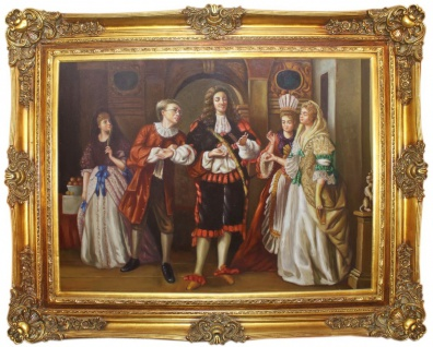 Casa Padrino Barock Ölgemälde Seine Lordschaft Mehrfarbig / Gold 160 x 10 x H. 130 cm - Handgemaltes Gemälde mit prunkvollem Rahmen im Barockstil - Barock Wanddeko