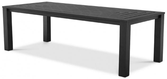 Casa Padrino Luxus Esstisch Schwarz 240 x 105 x H. 74, 5 cm - Wetterbeständiger Aluminium Tisch - Garten Tisch - Terrassen Tisch - Garten Möbel - Terrassen Möbel - Luxus Qualität