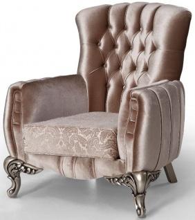 Casa Padrino Luxus Barock Sessel Rosa / Silber 91 x 86 x H. 104 cm - Wohnzimmer Sessel mit elegantem Muster - Barock Möbel