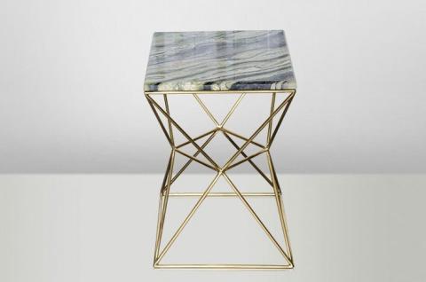 Casa Padrino Art Deco Beistelltisch Gold Metall / Marmor 35 x 35 cm- Jugendstil Tisch - Möbel Blumentisch