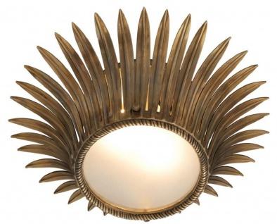 Casa Padrino Luxus Deckenleuchte im Sonnenblumen Design Vintage Messing / Weiß Ø 43 x H. 16, 5 cm - Designer Lampe