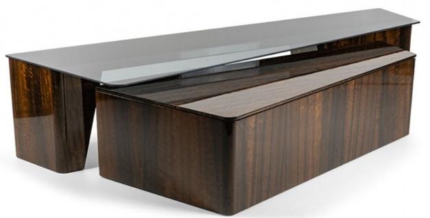 Casa Padrino Luxus Couchtisch Set Braun - 2 Rechteckige Wohnzimmertische - Luxus Wohnzimmer Möbel