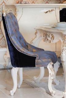 Casa Padrino Luxus Barock Esszimmerstuhl Blau / Dunkelblau / Bronze / Gold - Handgefertigter Massivholz Küchenstuhl - Esszimmer Möbel im Barockstil