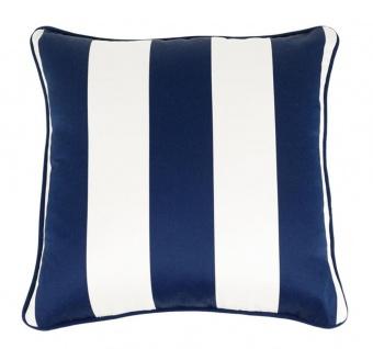 Casa Padrino Luxus Kissen Blau / Weiß 50 x 50 cm - Wohnzimmer Accessoires